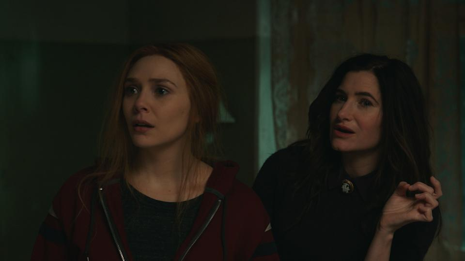 Elizabeth Olsen and Kathryn Hahn take a tour of Wanda's history in the latest episode of 'WandaVision' (Photo: Marvel/Disney+)