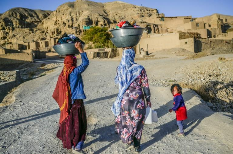The people who live in the Bamiyan caves are among the poorest in Afghanistan, and the Taliban takeover has only exacerbated their hardship (AFP/Bulent KILIC)