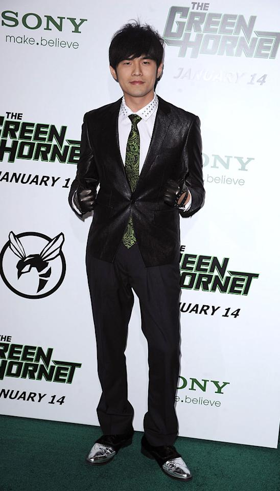 """<a href=""""http://movies.yahoo.com/movie/contributor/1809668744"""">Jay Chou</a> attends the Los Angeles premiere of <a href=""""http://movies.yahoo.com/movie/1808411967/info"""">The Green Hornet</a> on January 10, 2011."""