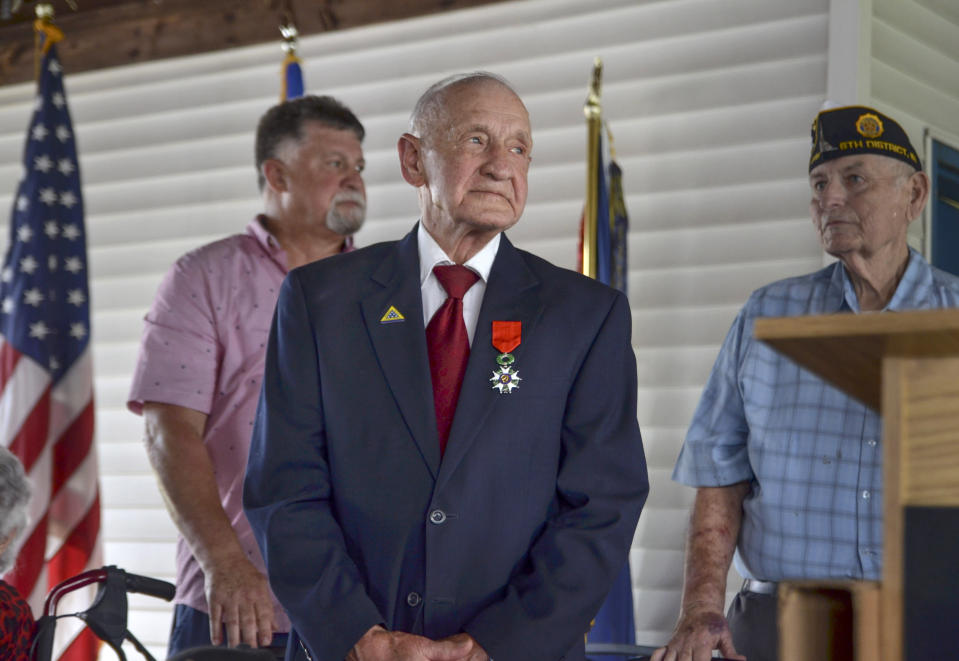 WWII veteran Jimmie H. Royer attends the ceremony where he was awarded France's Legion of Honor at VFW Post 346 in Terre Haute, Ind., Sunday, Sept. 29, 2019. The 94-year-old World War II veteran from western Indiana received the medal Sunday for his wartime service. (Austen Leake/The Tribune-Star via AP)