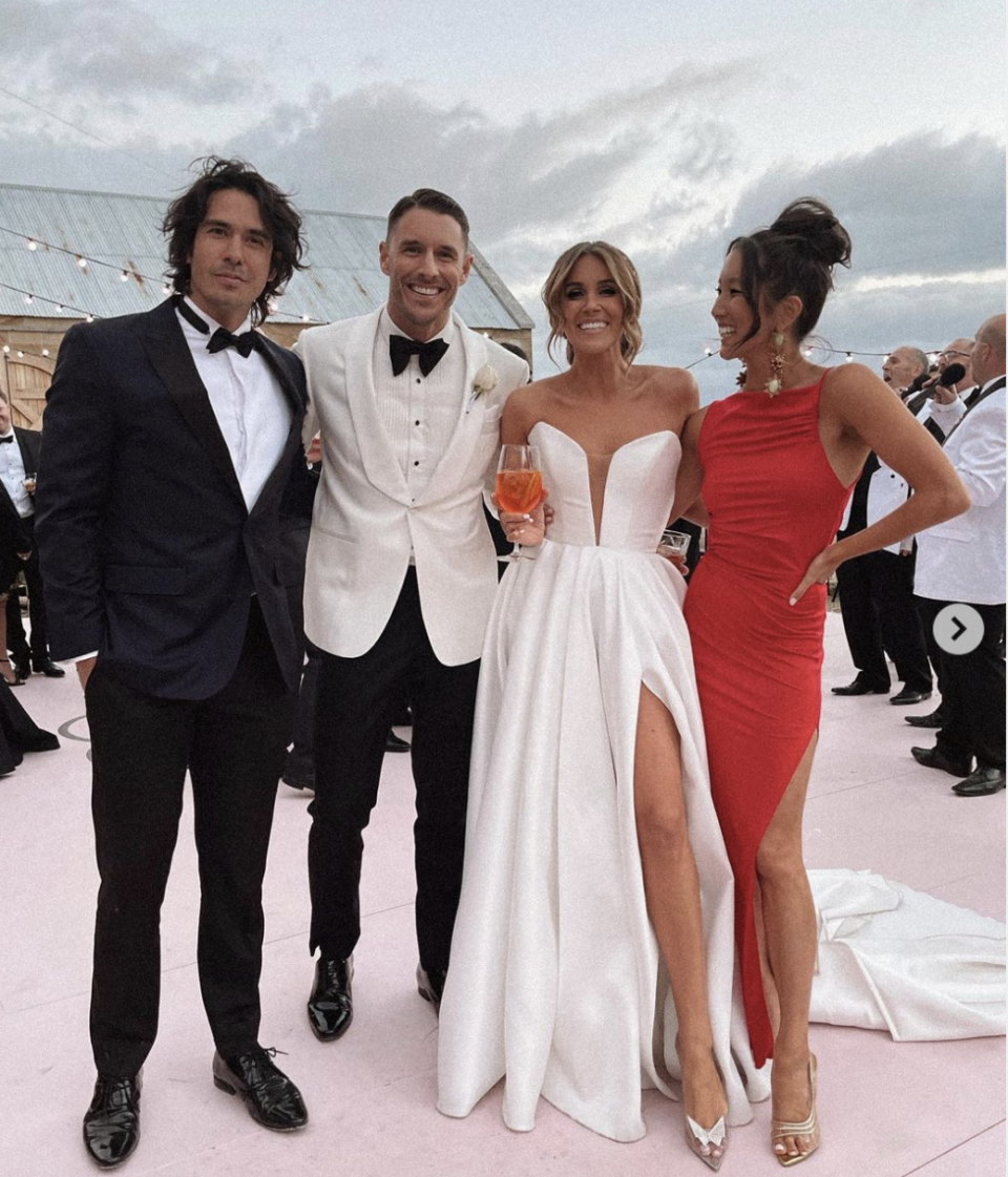 Georgia Love with a thigh high slit in Jason Grech gown