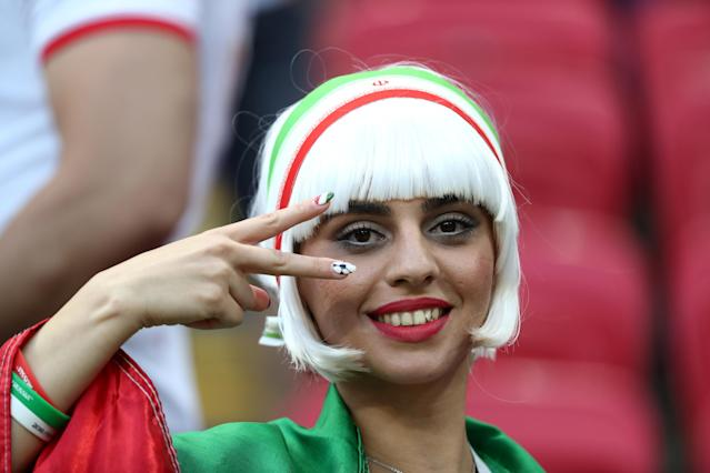 Soccer Football - World Cup - Group B - Iran vs Spain - Kazan Arena, Kazan, Russia - June 20, 2018 Iran fan inside the stadium before the match REUTERS/Sergio Perez