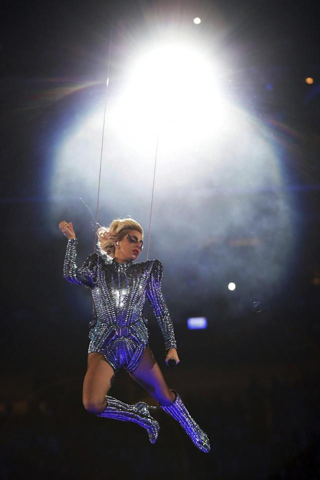 <p>Singer Lady Gaga performs during the halftime show of the NFL Super Bowl 51 football game between the New England Patriots and the Atlanta Falcons, Sunday, Feb. 5, 2017, in Houston. (AP Photo/Matt Slocum) </p>