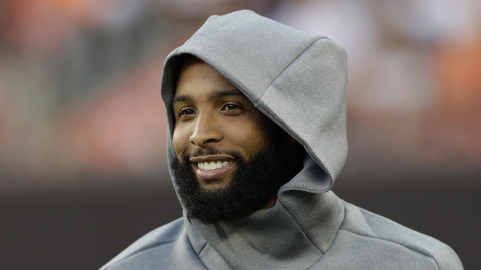 Cleveland Browns wide receiver Odell Beckham Jr. is still dealing with a hip injury. (AP)