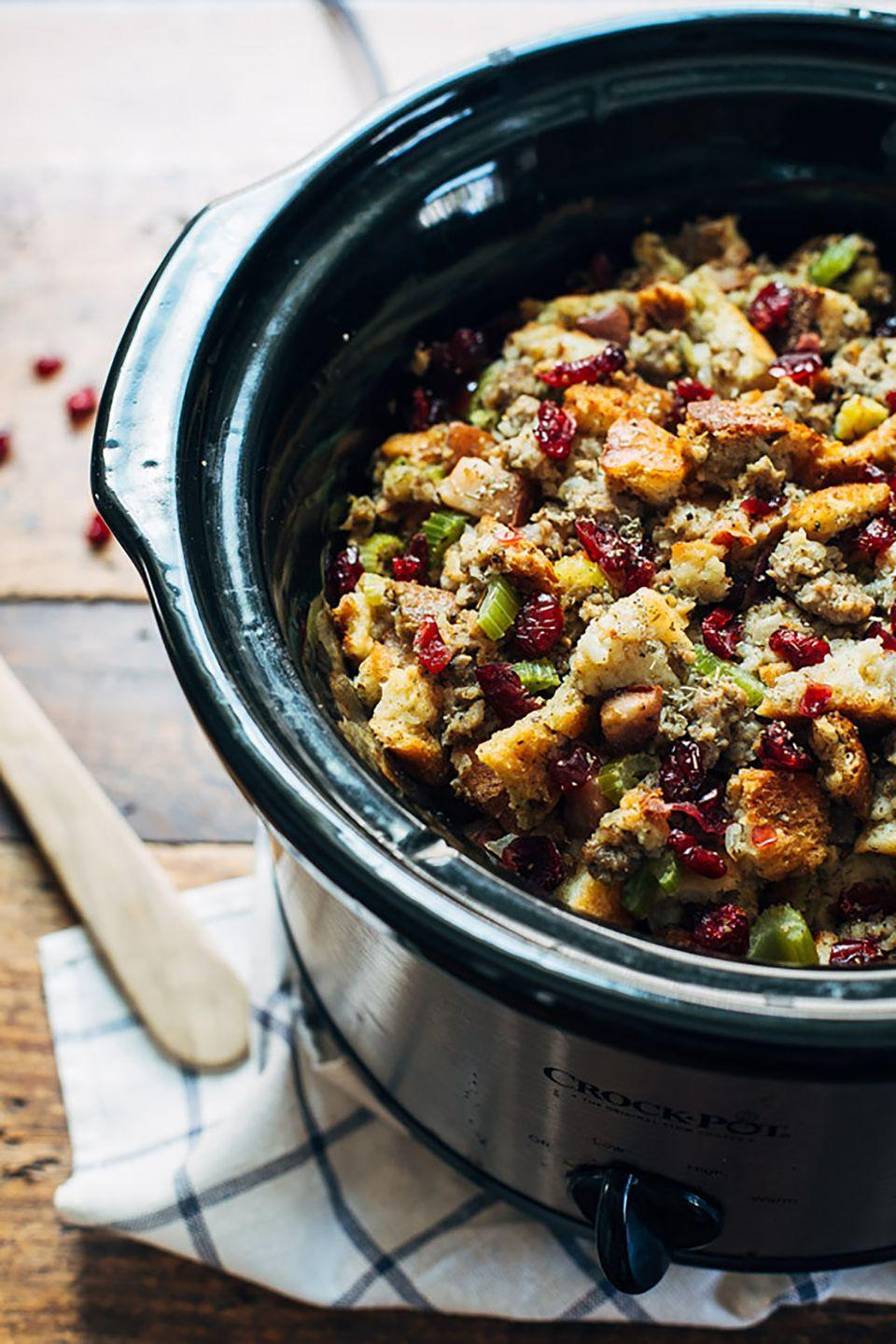 """<p>Just toss the ingredients in your slow cooker, set to simmer, and get ready to eat the best stuffing of your life.</p><p><strong>Get the recipe at <a href=""""http://pinchofyum.com/slow-cooker-pear-sausage-stuffing"""" rel=""""nofollow noopener"""" target=""""_blank"""" data-ylk=""""slk:Pinch of Yum"""" class=""""link rapid-noclick-resp"""">Pinch of Yum</a>.</strong> </p>"""