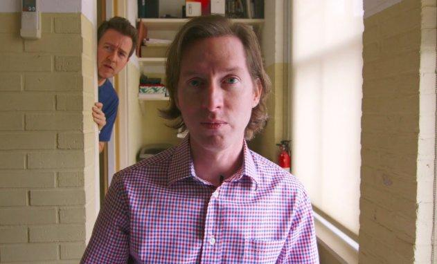 Wes Anderson (with Edward Norton peeking around the corner in the background)