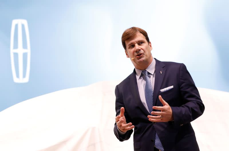 FILE PHOTO: Ford's Jim Farley speaking at the New York Auto Show