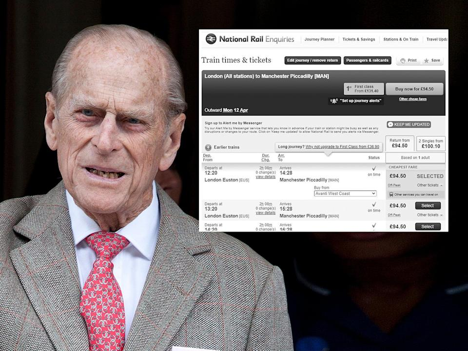 <p>National Rail Enquiries website showing respect for Prince Philip</p> (EPA)