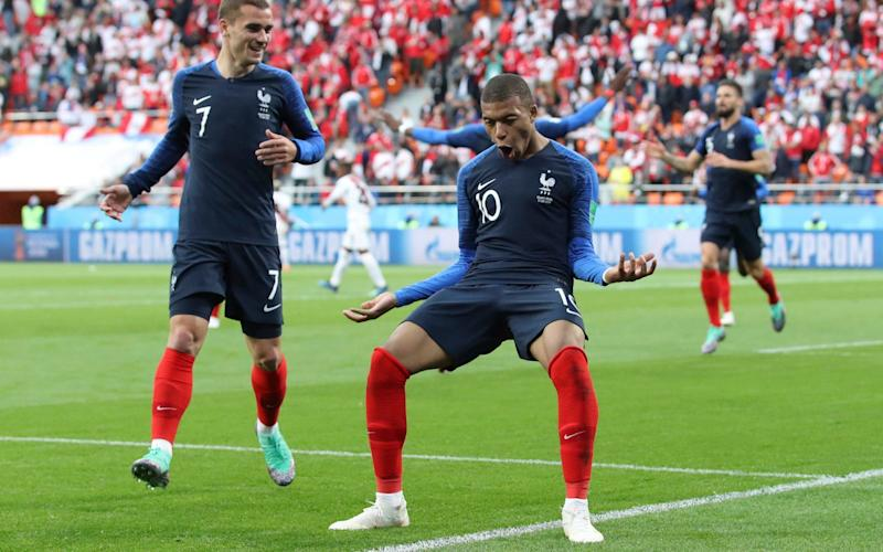Kylian Mbappe celebrates after scoring the only goal of the game - AP