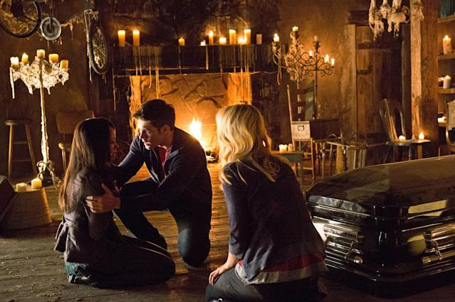 "Kat Graham as Bonnie, Steven R. McQueen as Jeremy Gilbert, and Candice Accola as Caroline in ""Growing Pains,"" the Season 4 premiere episode of ""The Vampire Diaries."""