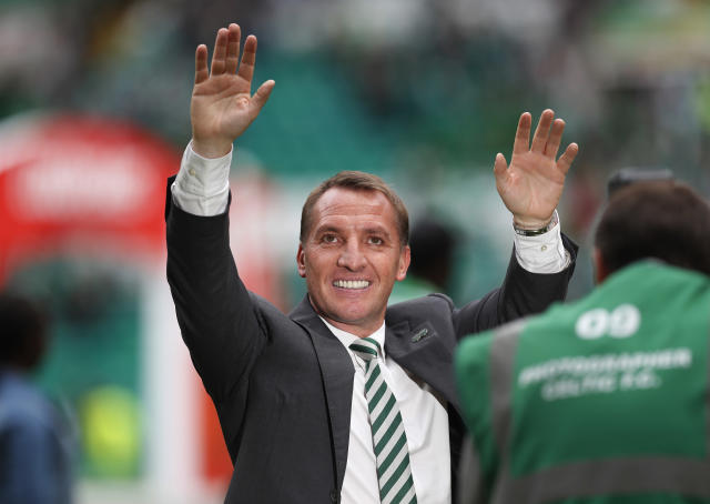 "Britain Football Soccer - Celtic v Heart of Midlothian - Scottish Premiership - Celtic Park - 21/5/17 Celtic manager Brendan Rodgers celebrates after winning the Scottish Premiership Reuters / Russell Cheyne Livepic EDITORIAL USE ONLY. No use with unauthorized audio, video, data, fixture lists, club/league logos or ""live"" services. Online in-match use limited to 45 images, no video emulation. No use in betting, games or single club/league/player publications. Please contact your account representative for further details."