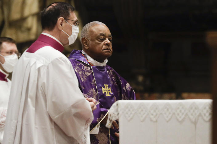 Cardinal Wilton D. Gregory attends a Mass celebrated by Pope Francis the day after the pontiff raised 13 new cardinals to the highest rank in the Catholic hierarchy, at St. Peter's Basilica, Sunday, Nov. 29, 2020. (AP Photo/Gregorio Borgia, Pool)