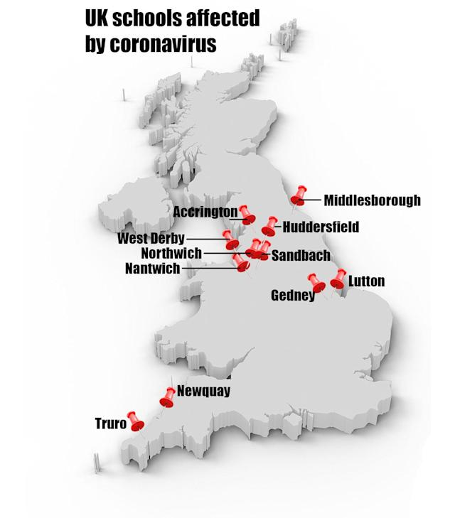 A number of schools are closed and more have sent some staff and pupils home over coronavirus fears.