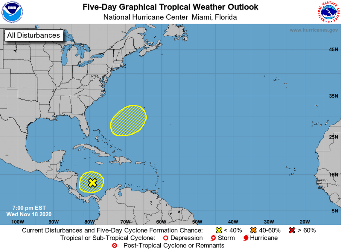 The National Hurricane Center are still monitoring two disturbances in the Atlantic Ocean that have low chances of forming anytime soon.