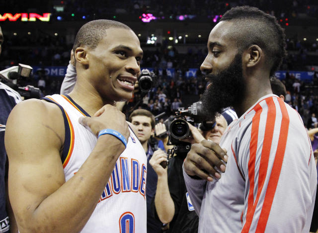 Russell Westbrook and James Harden are teaming up. (AP Photo/Sue Ogrocki)