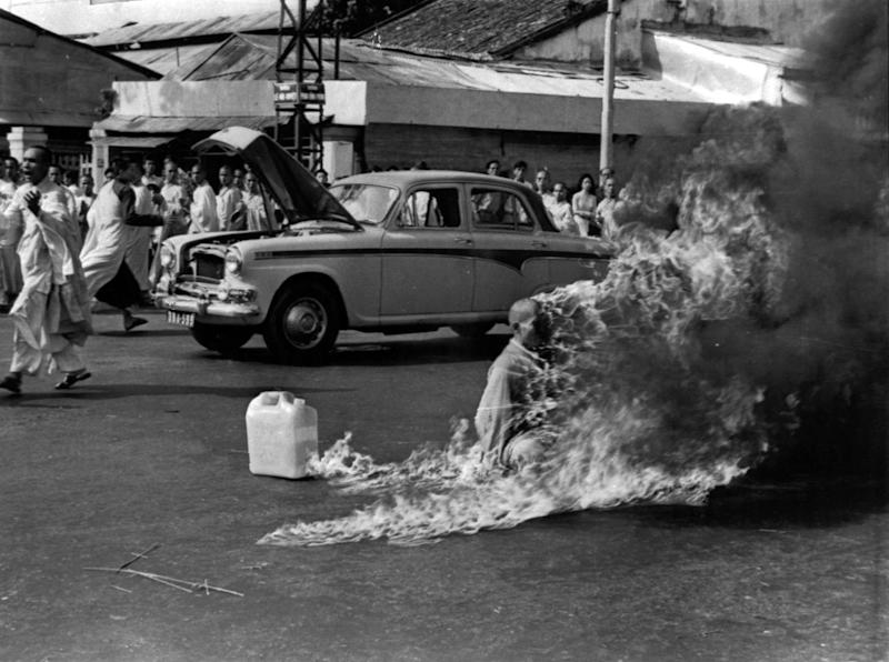 FILE - In this June 11, 1963 file photo, a Buddhist Monk sets himself on fire in Saigon to protest against the pro-Catholic Diem regime. Malcolm W. Browne, the former Associated Press correspondent who made the photo and was acclaimed for his trenchant reporting of the Vietnam War, has died. He was 81. (AP Photo/Malcolm Browne, File)