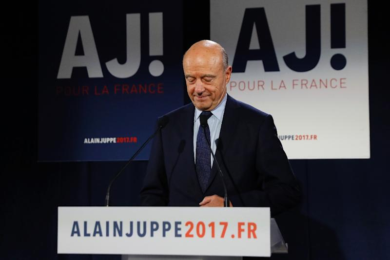Candidate for the centre-right primaries, Alain Juppe, delivers concession speech following the first results of the primary's second round on November 27, 2016