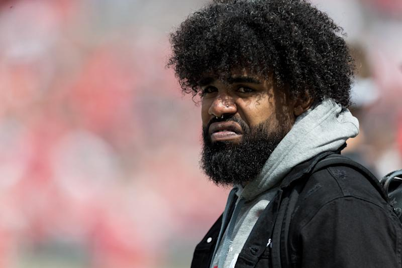 COLUMBUS, OH - APRIL 13: Former Ohio State Buckeye and current Dallas Cowboy Ezekiel Elliot watches the Ohio State Life Sports Spring Game presented by Nationwide at Ohio Stadium in Columbus, Ohio on April 13th, 2019. (Photo by Adam Lacy/Icon Sportswire via Getty Images)