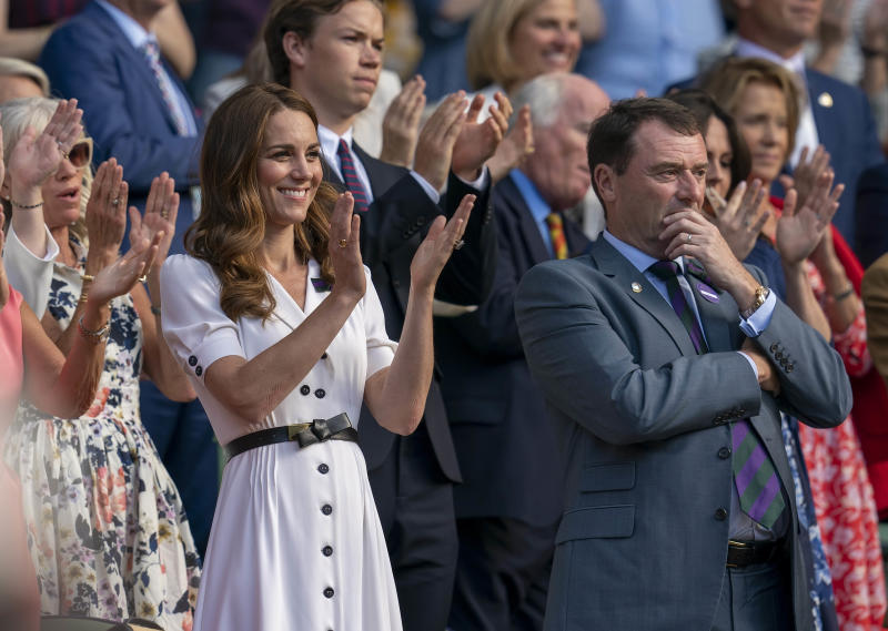 Jul 2, 2019; London, United Kingdom; Kate Middleton the Duchess of Cambridge in attendance for the Serena Williams (USA) and Giulia Gatto-Monticone (ITA) match on day two at the All England Lawn and Croquet Club. Mandatory Credit: Susan Mullane-USA TODAY Sports/Sipa USA