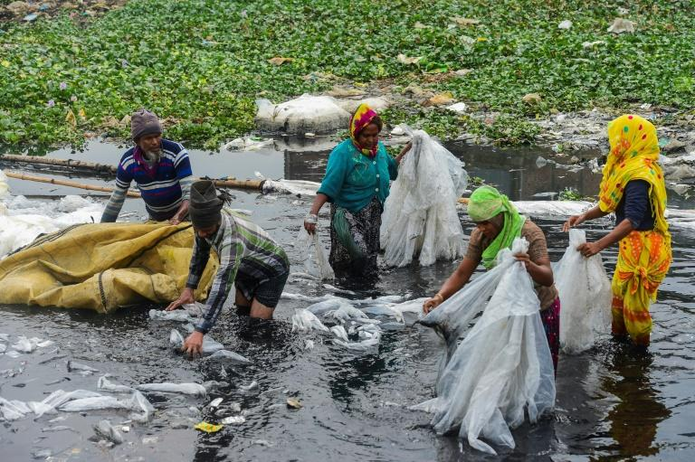 Workers scrub plastic bags used to carry industrial chemicals in the Buriganga river, which has become one of the world's most polluted waterways