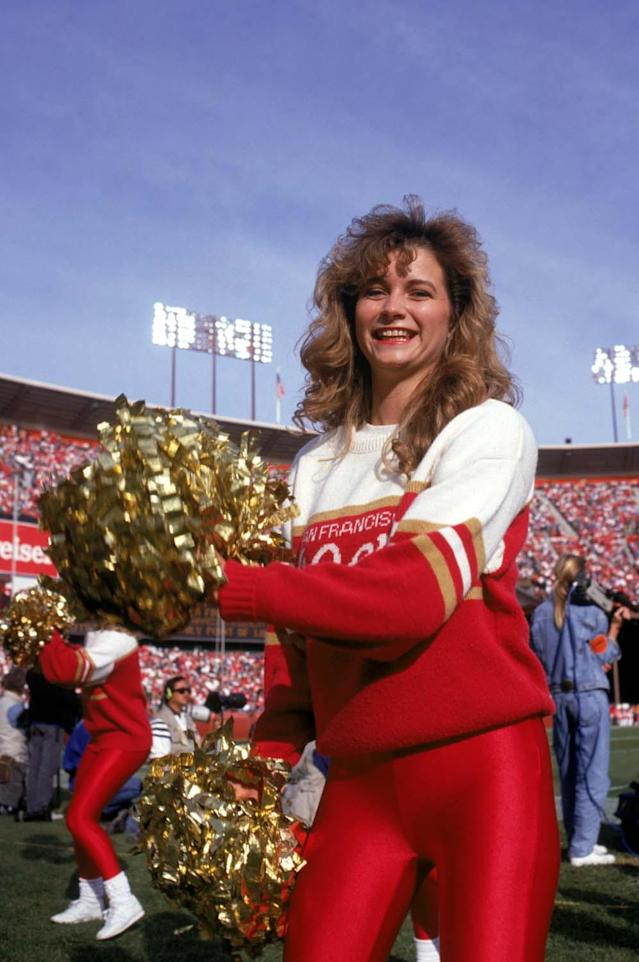 SAN FRANCISCO - DECEMBER 1: The 49ers Cheerleaders perform during a game between New Orleans Saints and the San Francisco 49ers at Candlestick Park on December 1, 1991 in San Francisco, California. The 49ers won 38-24. (Photo by George Rose/Getty Images)