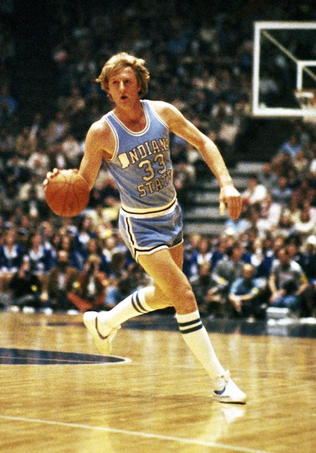 Indiana State player Larry Bird shown in action against the Oklahoma Sooners in NCAA tournament. March 15, 1979. Indiana won. (AP Photo / Brian Horton).