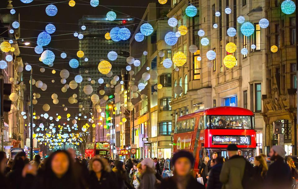 Christmas lights on Oxford Street before the pandemic (Getty Images)