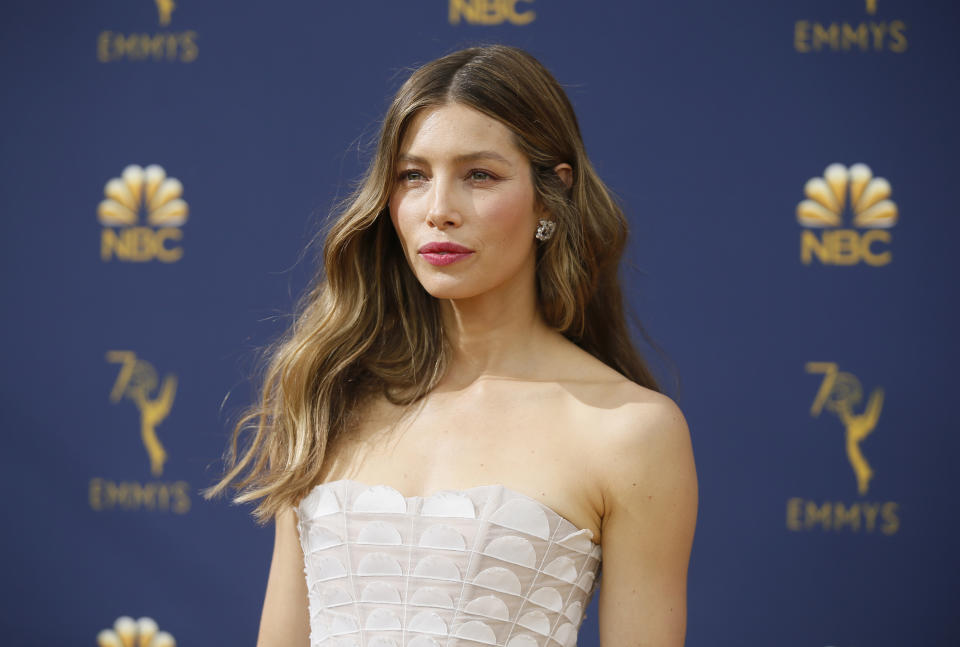Jessica Biel arrives at the 70th Primetime Emmy Awards on Monday, Sept. 17, 2018, at the Microsoft Theater in Los Angeles. (Photo by Danny Moloshok/Invision for the Television Academy/AP Images)