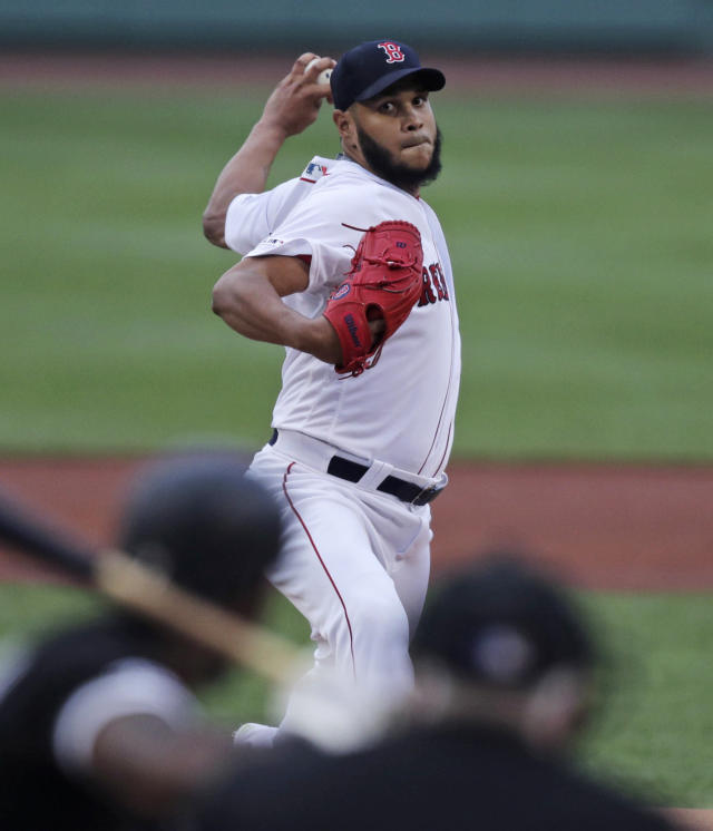 Boston Red Sox starting pitcher Eduardo Rodriguez delivers during the first inning of a baseball game against the Chicago White Sox at Fenway Park in Boston, Monday, June 24, 2019. (AP Photo/Charles Krupa)
