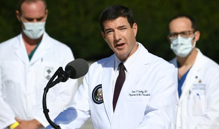 White House physician Sean Conley speaks to reporters on October 5, 2020