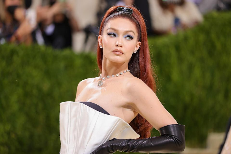NEW YORK, NEW YORK - SEPTEMBER 13: Gigi Hadid attends The 2021 Met Gala Celebrating In America: A Lexicon Of Fashion at Metropolitan Museum of Art on September 13, 2021 in New York City. (Photo by Theo Wargo/Getty Images)
