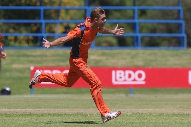 Michael Rippon celebrates a wicket against Namibia.