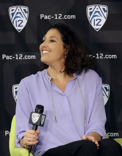 Washington head coach Jody Wynn listens to questions during NCAA college basketball Pac-12 media day in San Francisco, Wednesday, Oct. 10, 2018. (AP Photo/Jeff Chiu)