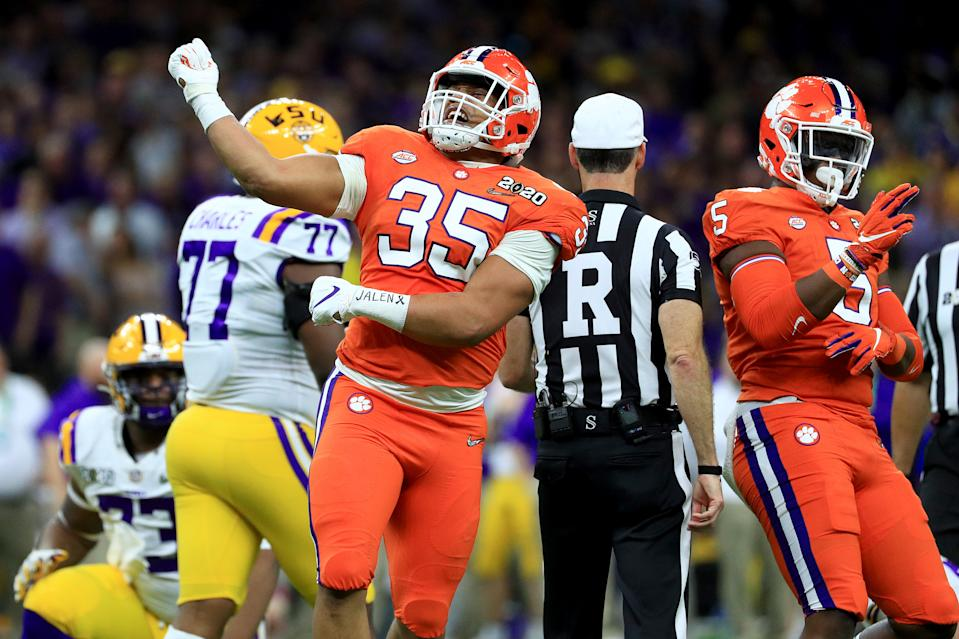 Justin Foster reacts after making a play on defense in the first half against LSU in the College Football Playoff national championship game on Jan. 13, 2020 in New Orleans. (Photo by Mike Ehrmann/Getty Images)
