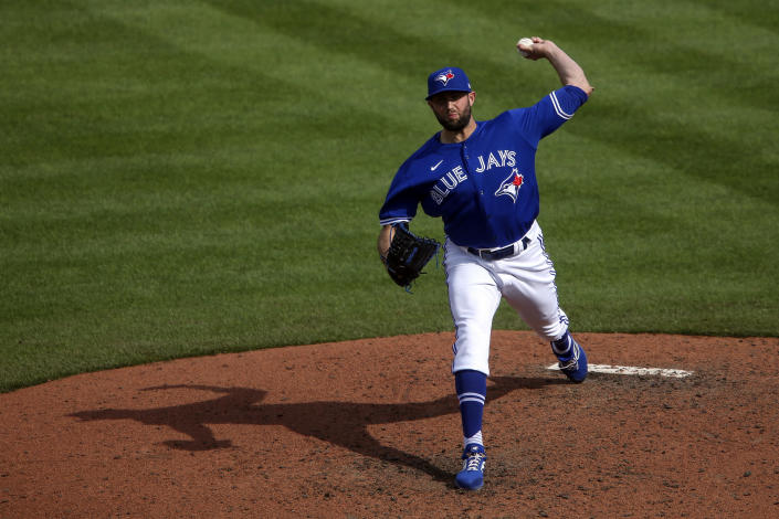 Toronto Blue Jays relief pitcher Tim Mayza (58) throws during the sixth inning of a baseball game against the Houston Astros in Buffalo, N.Y., Saturday, June 5, 2021. (AP Photo/Joshua Bessex)