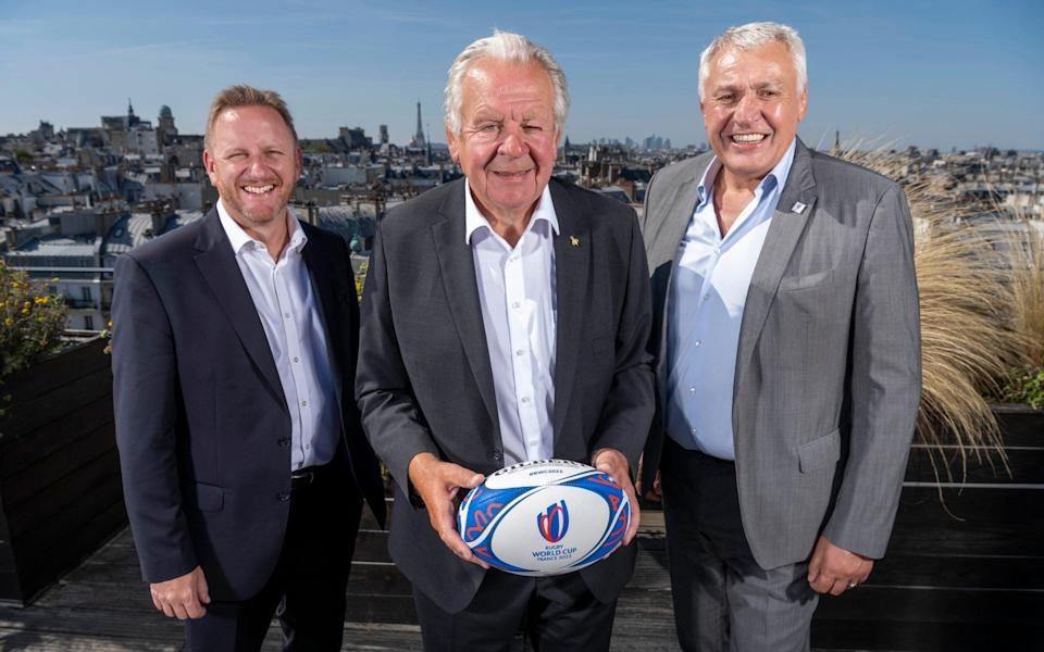 World Rugby chairman Bill Beaumont (centre), chief exec Alan Gilpin (left) and World Cup 2023 CEO Claude Atcher (right) - PAUL GROVER