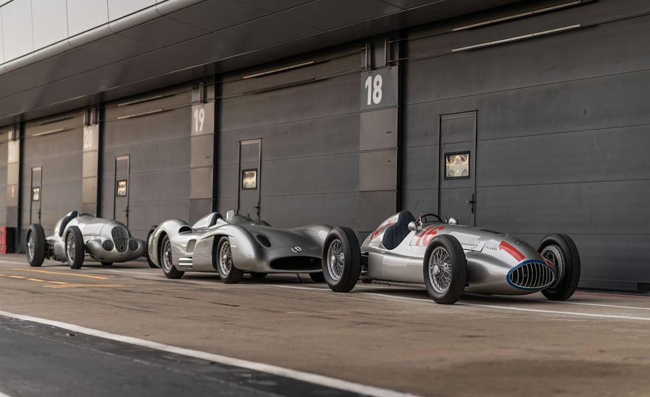 """<p>Within the complicated history of the brand's early years, including founders Gottlieb Daimler, Karl Benz, and Wilhelm Maybach, much of the company's motorsports heritage stems from its Silver Arrows grand-prix racers from the 1930s (sandwiched between the W125 and W165 models above is the 1954 W196 R.) Without a doubt, the best part of Benz's birthday party was that many of its greatest racing hits, even the most fragile and exotic, were unleashed on the track to be flogged as they were meant to, which you can see for yourself in <a href=""""https://www.caranddriver.com/video/a27209321/mercedes-benz-motorsports-celebration-video/"""" target=""""_blank"""">our on-track video from the event</a>. </p>"""