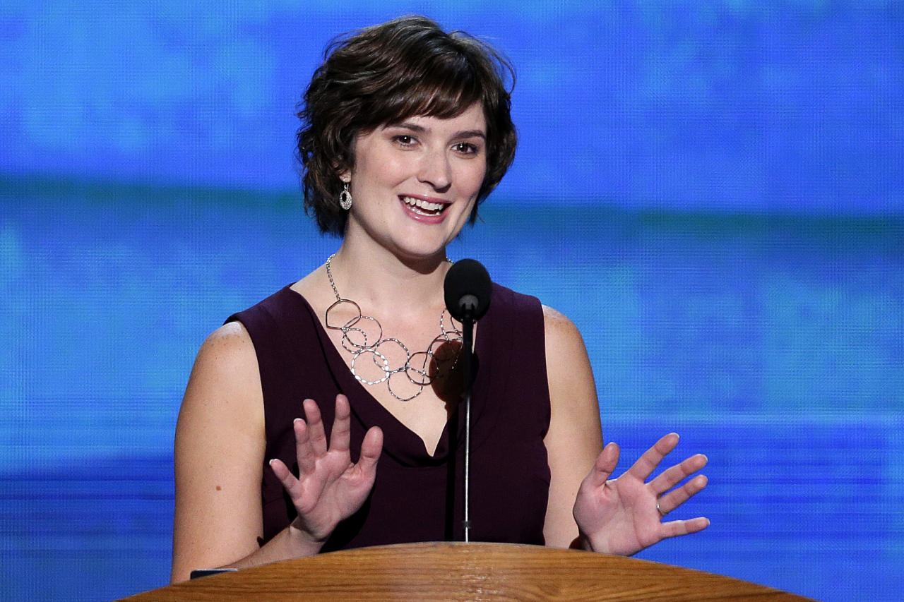 Sandra Fluke, attorney and women's rights activist addresses the Democratic National Convention in Charlotte, N.C., on Wednesday, Sept. 5, 2012. (AP Photo/J. Scott Applewhite)