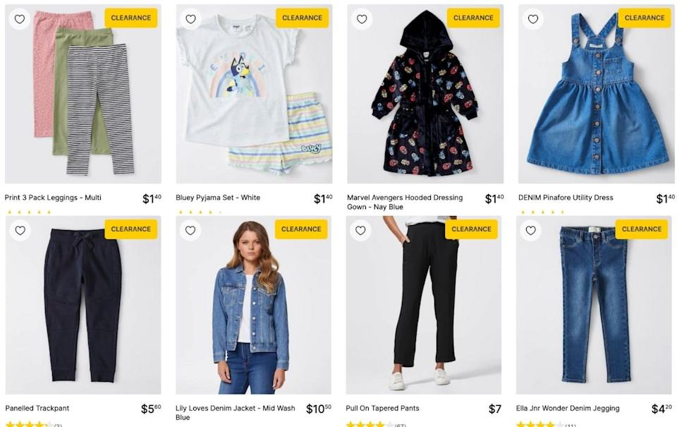 The Target clearance is on now with clothes as little as $1.40. Picture: Target
