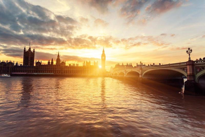 Sunset at Parliament in 'no-go' London (Getty/iStock)