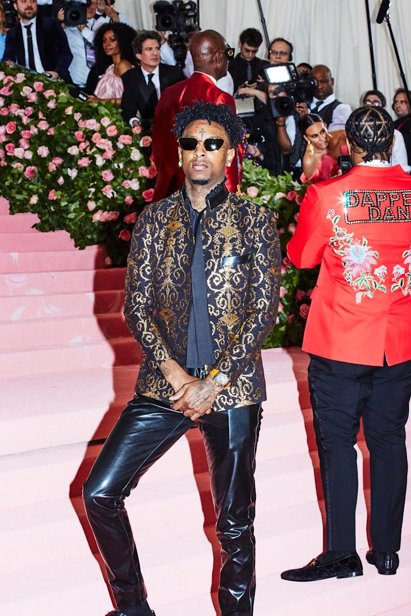 21 savage on the red carpet at the Met Gala in New York City on Monday, May 6th, 2019. Photograph by Amy Lombard for W Magazine.