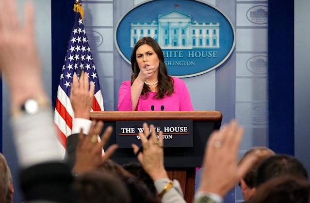 White House press secretary Sarah Sanders at the daily press briefing, Oct. 30, 2017. (Photo: Kevin Lamarque/Reuters)