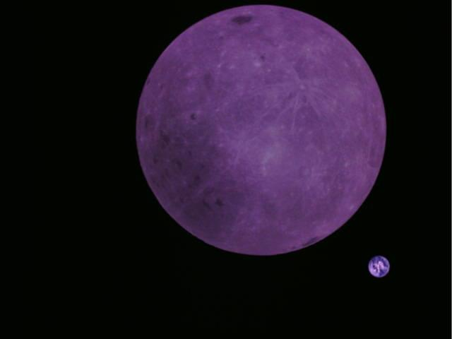 """This is what Longjiang-2's image of the lunar far side looks like without color correction. The photo """"has a purple haze to it due to the difficult photo environment in space,"""" Tammo Jan Dijkema, an engineer with the Netherlands Institute for Radio Astronomy, told Space.com. <cite>MingChuan Wei/Harbin Institute of Technology/CAMRAS/DK5LA</cite>"""