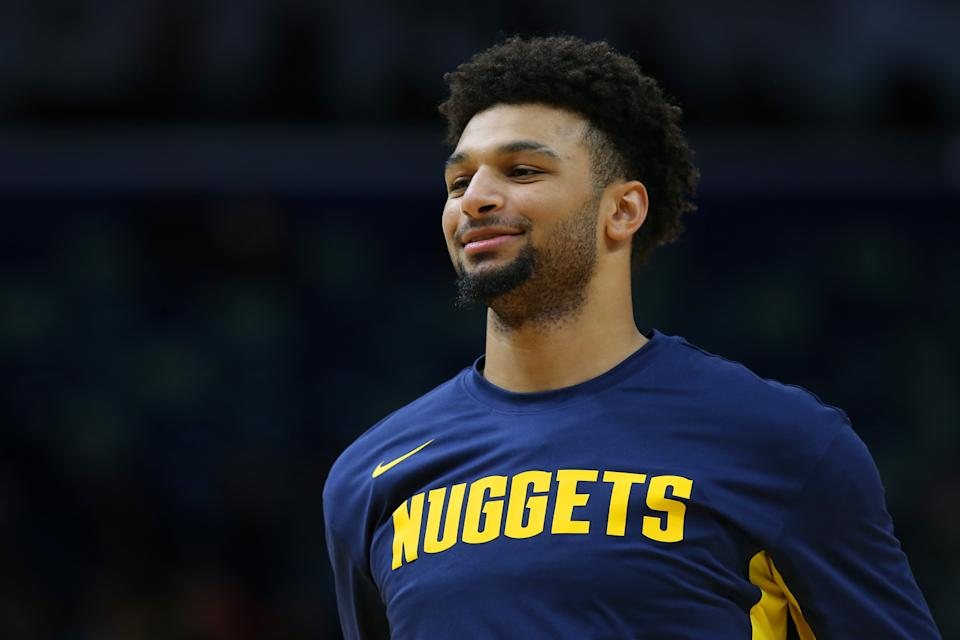 NEW ORLEANS, LOUISIANA - OCTOBER 31: Jamal Murray #27 of the Denver Nuggets reacts during a game against the New Orleans Pelicans at the Smoothie King Center on October 31, 2019 in New Orleans, Louisiana. NOTE TO USER: User expressly acknowledges and agrees that, by downloading and or using this Photograph, user is consenting to the terms and conditions of the Getty Images License Agreement. (Photo by Jonathan Bachman/Getty Images)