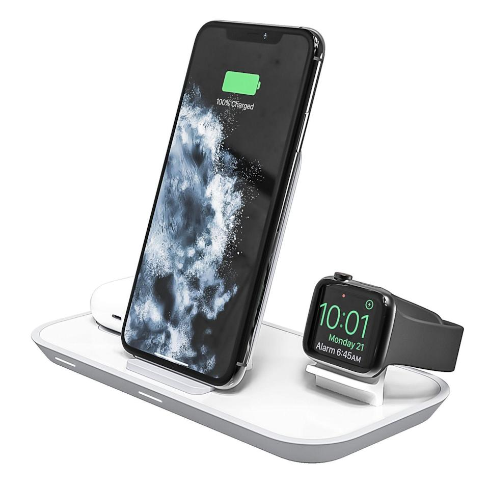 "<p><strong>mophie</strong></p><p>zagg.com</p><p><strong>$139.95</strong></p><p><a href=""https://go.redirectingat.com?id=74968X1596630&url=https%3A%2F%2Fwww.zagg.com%2Fen_us%2F3-in-1-wireless-charging-stand&sref=https%3A%2F%2Fwww.bestproducts.com%2Ftech%2Fgadgets%2Fg293%2Fbest-tech-gifts-at-every-price%2F"" rel=""nofollow noopener"" target=""_blank"" data-ylk=""slk:Shop Now"" class=""link rapid-noclick-resp"">Shop Now</a></p><p>This sleek wireless charger by mophie is an amazing tech gift for users of Apple gadgets. It can simultaneously charge an <a href=""https://www.bestproducts.com/tech/gadgets/a25589216/iphone-buying-guide/"" rel=""nofollow noopener"" target=""_blank"" data-ylk=""slk:iPhone"" class=""link rapid-noclick-resp"">iPhone</a>, an <a href=""https://www.bestproducts.com/tech/gadgets/a29188613/apple-watch-series-5-review/"" rel=""nofollow noopener"" target=""_blank"" data-ylk=""slk:Apple Watch"" class=""link rapid-noclick-resp"">Apple Watch</a>, and a set of <a href=""https://www.bestproducts.com/tech/gadgets/a27008575/new-apple-airpods-review/"" rel=""nofollow noopener"" target=""_blank"" data-ylk=""slk:AirPods"" class=""link rapid-noclick-resp"">AirPods</a> (with a wireless charging case) or <a href=""https://www.bestproducts.com/tech/gadgets/a29666788/apple-airpods-pro-review/"" rel=""nofollow noopener"" target=""_blank"" data-ylk=""slk:AirPods Pro"" class=""link rapid-noclick-resp"">AirPods Pro</a>. </p><p>Of course, the product supports Apple's 7.5-watt wireless charging output, so it can charge an iPhone rapidly. Available in black or white, the space-saving accessory is backed by a robust 2-year warranty.<br></p>"