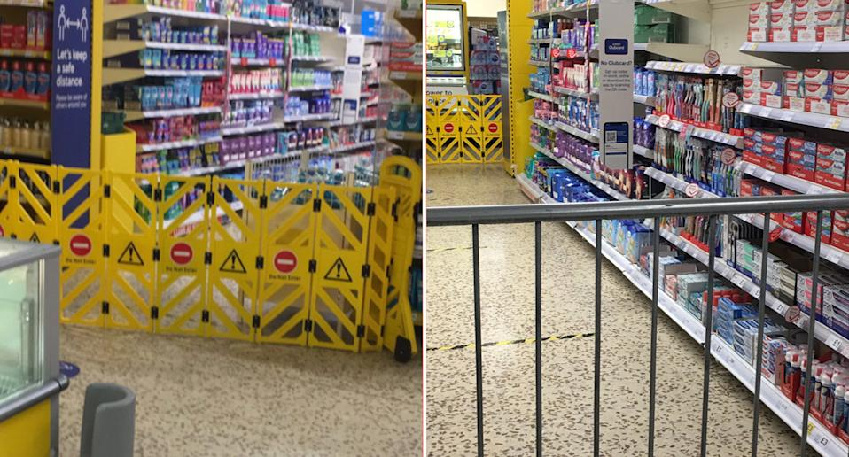 Pictured is the Tesco's stores sanitary aisle with caution signs and a gate blocking it off. Source: Twitter/@nicholasmith6