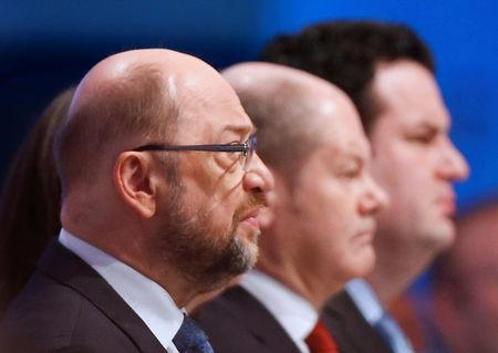 Social Democratic Party (SPD) leader Martin Schulz looks on at an SPD party convention in Berlin