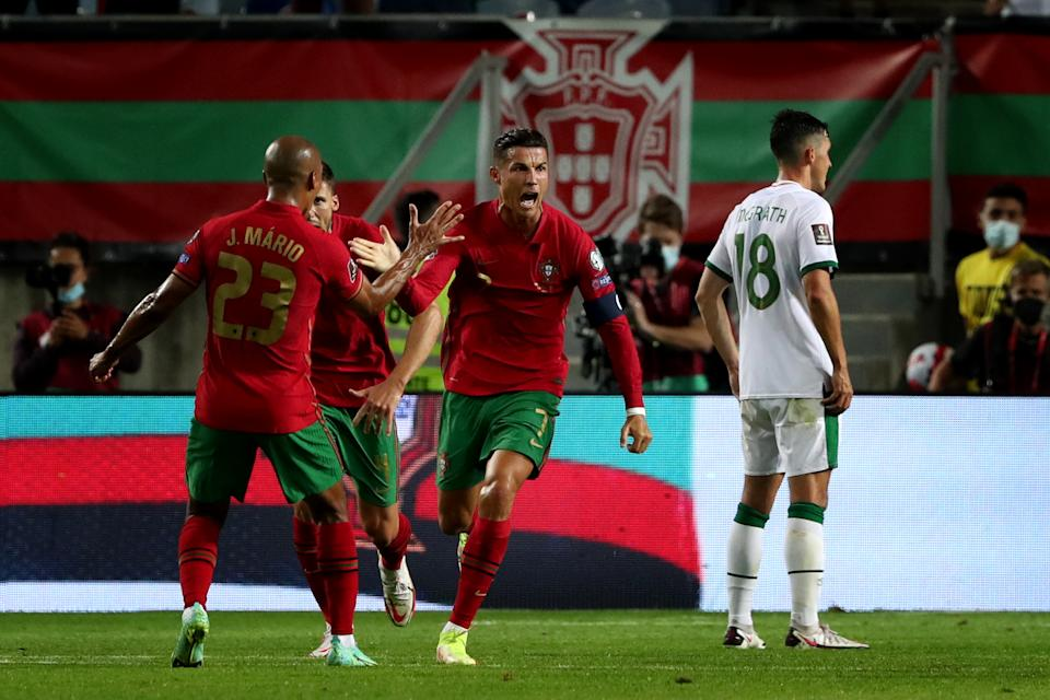 Pictured here, Cristiano Ronaldo celebrates after scoring against Ireland in a World Cup qualifier.