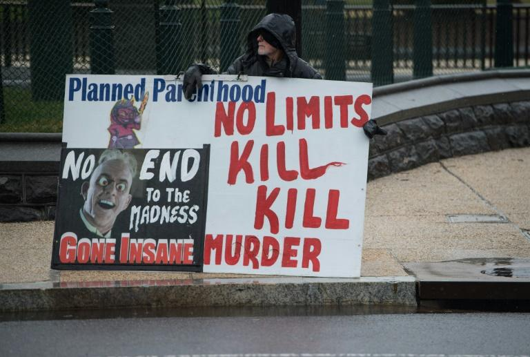 An anti-abortion activist demonstrates in front of the US Supreme Court