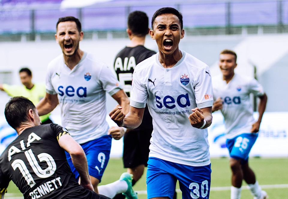 Lion City Sailors' Faris Ramli (right) celebrates during their 4-1 win over Tampines Rovers in the Singapore Premier League. (PHOTO: SPL)
